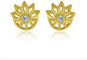 Mahi Exa Collection CZ White Floral Wheel Gold Plated Stud Earrings for Women ER6012031GWhi