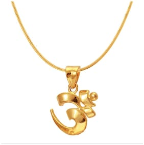 Mahi Exa Collection Om Gold Plated Religious God Pendant with Chain for Men & Women PS6012011G