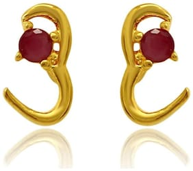 Mahi Exa Collection Ruby Red Classic Gold Plated Stud Earrings for Women ER6012039G
