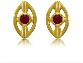 Mahi Exa Collection Ruby Red Floral Oval Gold Plated Stud Earrings for Women ER6012006G