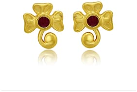 Mahi Exa Collection Ruby Red Floral FancyGold Plated Stud Earrings for Women ER6012027G