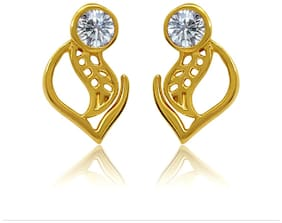 Mahi Exa Collection CZ White Curvy Leaf Gold Plated Stud Earrings for Women ER6012037GWhi