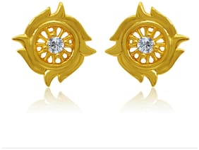 Mahi Exa Collection CZ White Floral Fire Gold Plated Stud Earrings for Women ER6012007GWhi