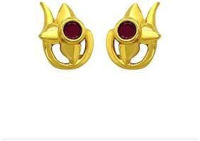 Mahi Exa Collection Ruby Red Flower Elegance Gold Plated Stud Earrings for Women ER6012033G
