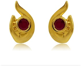 Mahi Exa Collection Ruby Red Fire Drop Gold Plated Stud Earrings for Women ER6012014G