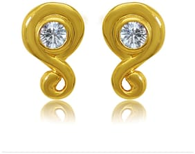 Mahi Exa Collection CZ White Round Petal Gold Plated Stud Earrings for Women ER6012035GWhi