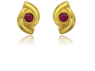 Mahi Exa Collection Ruby Red Spiral Gold Plated Stud Earrings for Women ER6012001G
