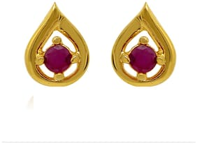 Mahi Exa Collection Ruby Red Drop Gold Plated Stud Earrings for Women ER6012019G