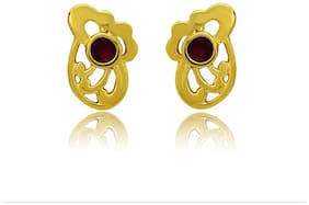 Mahi Exa Collection Ruby Red Floral Bud Plated Stud Earrings for Women ER6012005G