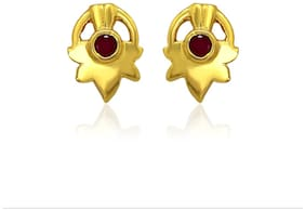 Mahi Exa Collection Ruby Red Maple Leaf Gold Plated Stud Earrings for Women ER6012012G