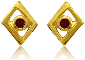 Mahi Exa Collection Ruby Red Kite Square Gold Plated Stud Earrings for Women ER6012010G