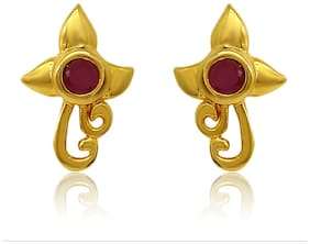 Mahi Exa Collection Ruby Red Floral Vine Gold Plated Stud Earrings for Women ER6012011G