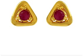 Mahi Exa Collection Ruby Red Triangle Gold Plated Stud Earrings for Women ER6012026G