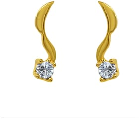 Mahi Exa Collection CZ White Delicate Leaf Gold Plated Stud Earrings for Women ER6012040GWhi