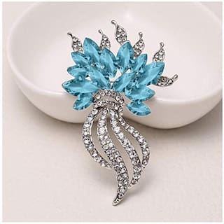 Mahi Valentine Special Designer Aqua Turquoise Crystal Brooch for girls and women BP1101040RABlu