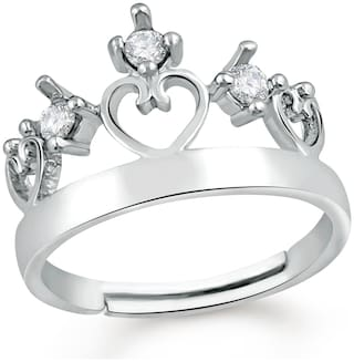 Mahi Exquisite Love Valentine Finger Ring of Alloy with CZ stones for girls and women FR1103071R