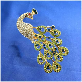 Mahi Valentine Special Gold Plated Plated Green Crystal Studed Peacock Brooch for Women BP1101035G