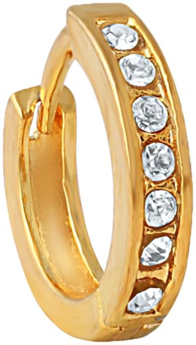 Mahi Gold Plated Immortal Beauty Nose Ring with Cubic Zirconia for Girls and Women (NR1100169G)