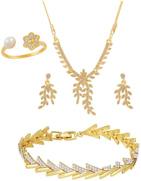 Mahi Gold Plated Combo of Leafy Designer Pendant set;Bracelet and Finger Ring with crystal stones for girls and women CO1105067GWhi