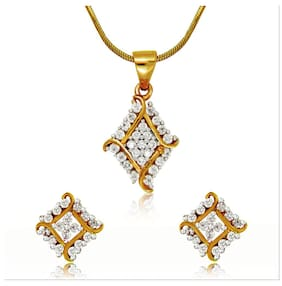Mahi Gold plated Festive Jewelry Barfi Pendant Set With Cz For Women Nl4101565G