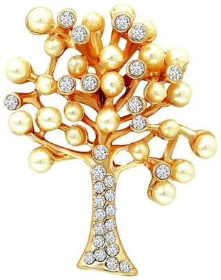 Mahi Valentine Special Gold plated Festive Jewelry Unisex Decorative Tree Brooch Pin with Crystals and Artificial Pearl BP1101005G