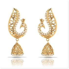 Mahi Gold plated Festive Jewelry White Peacockwith Crystals Jhumki Earrings Er2109274G