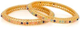 Mahi Gold plated Festive Jewelry Enchanting Ethnic Bangles with multicolour beads BA1105205G2Q2.8