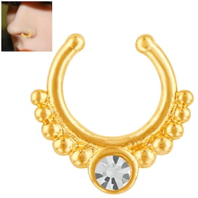Mahi Gold plated Festive Jewelry Solitaire Sparkling Crystal Nose Ring for girls and women NR1100161G