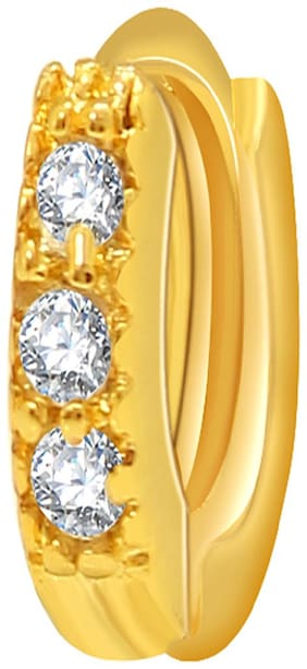 Diwali Gift - Mahi Gold Plated Alluring Nosering with Cubic Zirconia for Women NR1100157G
