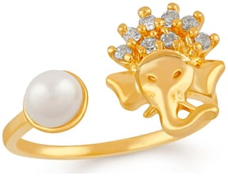 Mahi Gold plated Festive Jewelry Vignaharta Ganesh Adjustable Finger ring with CZ stones and artificial pearl for girls and women FR1103015G