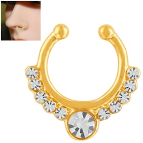 Mahi Gold plated Festive Jewelry Glorious Crystal Nose Ring for girls and women NR1100165G