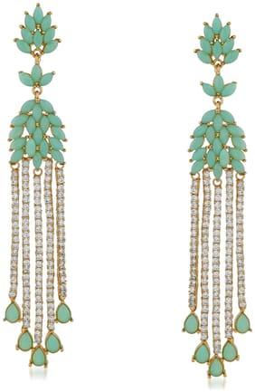 Mahi Gold plated Festive Jewelry Sparkling carrot green and white crystals dangler earrings for girls and women ER1109554G