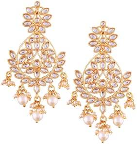 Mahi Gold plated Festive Jewelry Kundan Chandbali Earrings with Crystals and Artificial Pearl for Women ER1109621G