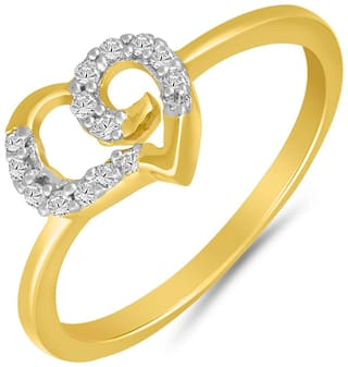 Mahi Gold plated Festive Jewelry Stylo Heart Finger Ring With Cz For Women Fr1100642G