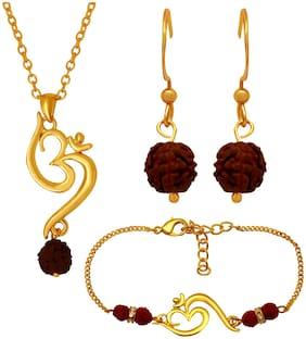 Mahi Gold Plated Combo of Unisex Artistic Om Rudraksh Pendant,Bracelet and Drop Earrings for Girls CO1104843G