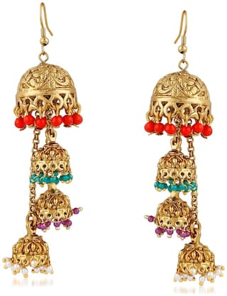 Mahi Gold plated Festive Jewelry Alluring multilayer jhumki earrings with multicolour beads ER1109481gul