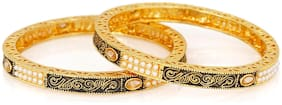 Mahi Gold plated Festive Jewelry Exquisite Traditional Bangles with artificial beads BA1105207G2Q2.6