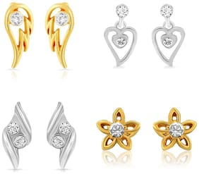 Mahi Gold Plated & Rhodium Plated Combo Of Four Small Stud Earrings With Crystals For Women CO1104627M