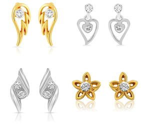 Mahi Gold & Rhodium Plated Combo Of Four Small Stud Earrings With Crystals For Women CO1104627M