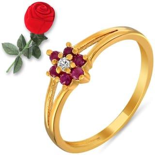 Mahi Ruby & CZ with Rose Shaped Box Fashion Finger Ring for Women FR5100298GBx10 Free Rose Box