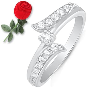 Mahi Infinity Love Finger Ring with CZ with Rose Shaped Box for Women FR5100498RBx16 Free Rose Box
