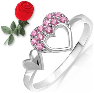 a04b86ef117fa Mahi Love Pink Heart Ring Made with Swarovski Elements with Rose Shaped Box  for women FR1104001RPinBx14 Free Rose Box