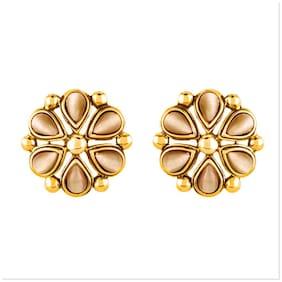 Mahi Monalisa Cats Eye Beige Flower Gold Plated Earrings Er1109417Gbei