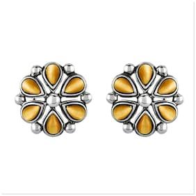 Mahi Monalisa Cats Eye Yellow Flower Rhodium Plated Earrings Er1109417Ryel