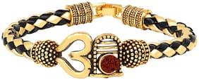 Mahi Om Shiva Trishul Om Rudraksha Alloy and Leather Kada Bracelets for Men (BR1100436G)