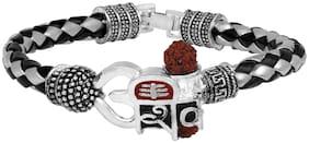 Mahi Om Shiva Trishul Om Shiva Damroo Rudraksha Alloy and Leather Kada Bracelets for Men (BR1100439R)