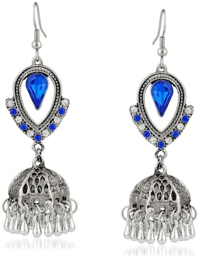 Mahi Oxidised Rhodium Plated Exquisite Crystal Jhumki Earrings for girls and women ER1109475RDBlu