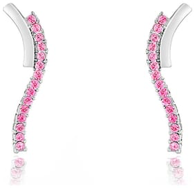 Mahi Christmas Special Festive Jewelry Elegant Curve Earrings with Pink Crystals for Women ER1191769RPin