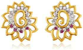 Mahi Christmas Special Love Gold plated Pink Flower Earrings Made with Swarovski Elements for Women ER1194126GWhiPin