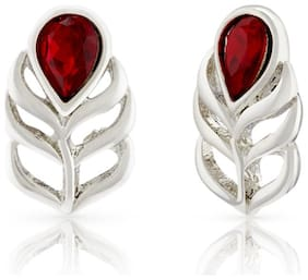 Mahi Christmas Special Red Peacock Feather Swarovski Crystal Brass Alloy Stud Earring For Women Er1194108Rred